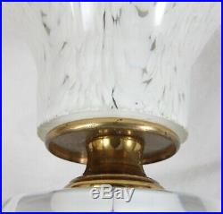 Vintage St  Clair Glass Table TV Lamp Art Glass White