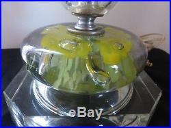 Vintage St. Clair Paperweight Cut Glass with Prisms Table Lamp, 1950's 60's
