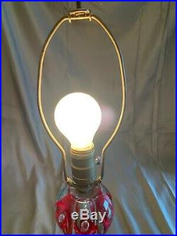 Vintage St. Clair Red Flower Glass Paperweight Lamp Marble Brass Base