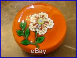 Vintage St. Louis 1973 Art Glass Paperweight w White Flower France Rare