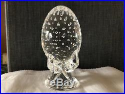 Vintage Steuben Crystal Glass Egg Controlled Bubbles by Lloyd Atkins 1964