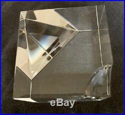 Vintage Steuben Glass Floating Spheres Cube Prism Paperweight Lloyd Atkins