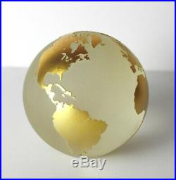 Vintage Steven Correia Ewelick Studio Globe Paperweight. Gold on frosted clear