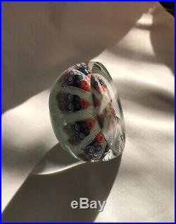 Vintage Strathearn Art Glass Paperweight-Latticino-Scotland-8 Spokes-Paper Label