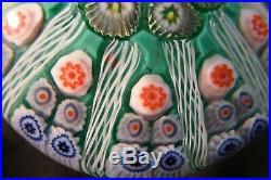Vintage Strathearn Millefiori Glass Paperweight Door Handle Emerald Green knob