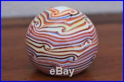 Vintage Swirl Paper Weight Grant Randolph Multi Color Art Glass 2 3/4 wide