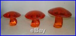Vintage VIKING Glass PERSIMMON Orange Set of 3 MUSHROOM Small Medium & Large