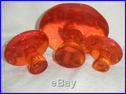 Vintage Viking Art Glass Persimmon Orange Mushroom Paperweights Set Lot Of 3