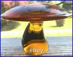 Vintage Viking Glass Co Large Amber Glass Mushroom Paper Weight 4in H x 5.75in D