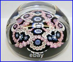 Vintage WHITE FRIARS 1977 Silver Jubilee Glass Faceted Millefiori Paperweight