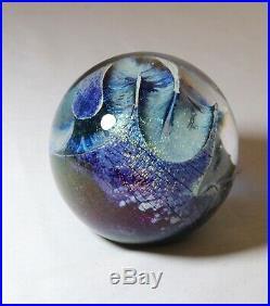 Vintage signed Robert Eickholt 1980 blown art studio glass ant trail paperweight