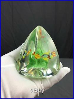 VntG Italian Murano Art Glass 3 Fish Aquarium Paper Weight Barbini Cenedese