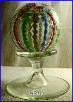 Vntg MURANO ART GLASS PEDESTAL PAPERWEIGHT FILIGRANA RETORTOLI MILLEFIORI GOLD