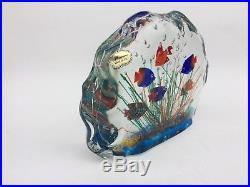 Vntg MURANO Art Glass Fish Aquarium Block Paperweight Sculpture Original Label