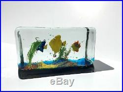 Vntg Murano Art Glass Aquarium Paperweight 3 Fish Aventurine Mid Century Modern
