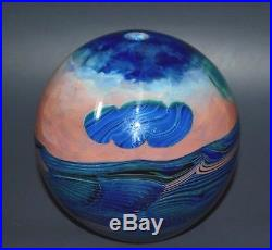 Vtg76 John Lewis Signed Dated Moon/Clouds Studio Art Glass Vase Paperweight