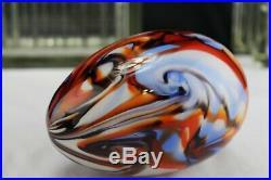 Vtg 1976 Fenton Glass Barber/fetty Large Swirl Egg Paperweight