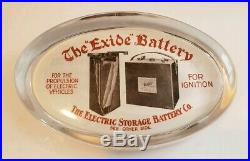 Vtg. Antique White Back Glass Advertising Paperweight The Exide Battery Phil PA