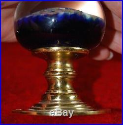 Vtg Art Glass Millefiori Brass Door Knob Paperweight Perthshire Scotland Euc #1