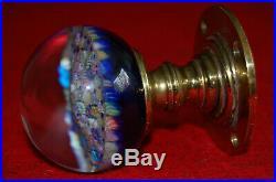 Vtg Art Glass Millefiori Brass Door Knob Paperweight Perthshire Scotland Guc #2