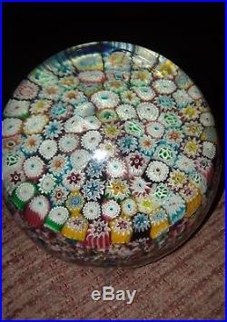 Vtg Beautiful Murano Art Glass Millefiori Paperweight Multi Colors Flowers -mint