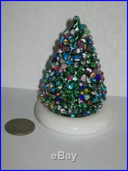 Vtg CAPE COD GLASS WORKS Millefiori Latticino Christmas Tree Paperweight