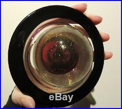 Vtg Correia Iridescent Dichroic Art Glass Saturn SIGNED Modernist Paperweight