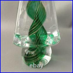 Vtg Italian Murano Glass Green Swirl Vortex Gold Aventurine Xmas Tree Figurine