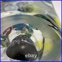 Vtg Large 15lb Signed Lisa Leydon Universe Multi Planet Art Glass Paperweight