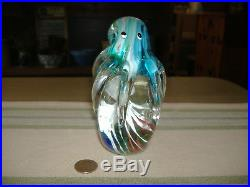 Vtg Large Heavy MURANO Art Glass Octopus & Jellyfish Paperweight Mint withSticker