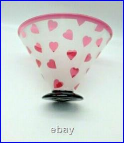 Vtg Ltd Edition Correia Art Glass Red/Frosted Etched Ruby Hearts Bowl 143/500