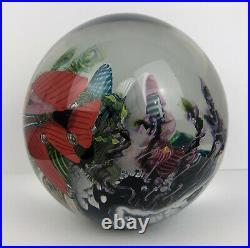Vtg MARK ECKSTRAND SEA AQUARIUM ART GLASS PAPERWEIGHT Coral Fish Ocean SIGNED 93
