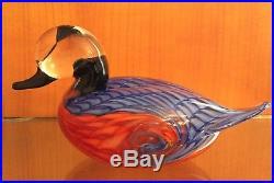 Vtg Maestro Murano Art Glass Life Size Duck Sculpture Italy Signed Vetri Di RARE