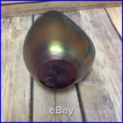 Vtg Maytum Studio Purple Art Glass Paperweight Iridescent Seashell 1991 Signed