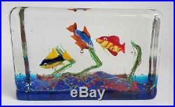 Vtg Mid Century 5 1/2 Murano Art Glass Fish Aquarium Block Paperweight Sculpture