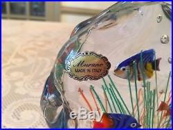 Vtg Murano Aquarium Glass Art Block Paperweight Original Label