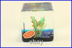 Vtg Murano Art Glass Fish Aquarium Tank Block Cube Italy Paperweight with Sticker
