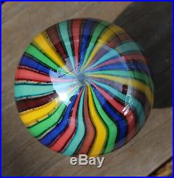 Vtg Murano Glass Art Footed Door Knob Rainbow Cane Striped Marble Paperweight