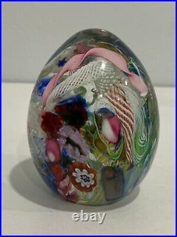 Vtg Murano Italian Glass Egg Form Paperweight with Sticker Latticino Ribbon Floral