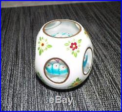Vtg Murano Toso Encased Millifiori Paperweight Cut To Clear Handpainted Flowers