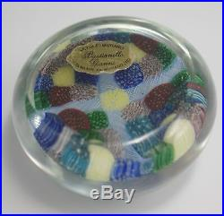 Vtg Murano Venetian Glass Latticino Millefiori Patchwork Paperweight Orig Label