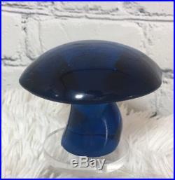 Vtg Pair VIKING Glass VASELINE URANIUM & Blue MUSHROOM Paperweights Art Figurine