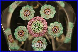 Vtg Perthshire PP14 M Art Glass Faceted Millefiori Star Cut Bottom Paperweight