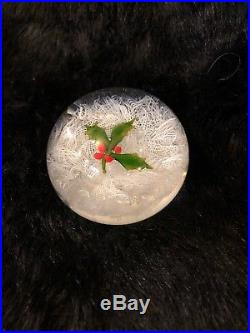 Vtg Perthshire Paperweight Christmas Holly P1971 250 Made Date Signed On Bottom