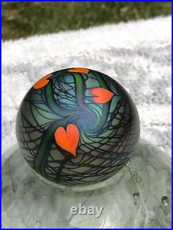 Vtg Signed 114 1976 Orient & FlumeIRIDESCENT HEARTSArt Glass Paperweight