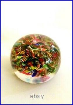 Vtg. Signed BACARAT Macedoine Latticino Millefiori Blown Art Glass Paperweight