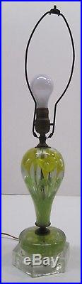 Vtg St Clair Blown Glass Paperweight Table Lamp Controlled Bubble Floral Yellow