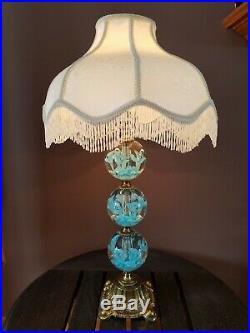 Vtg St. Clair Blue Trumpet Flower Paperweight Art Glass Table Parlor Light Lamp