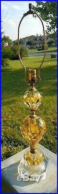 Vtg St. Clair Yellow Flower Paperweight Art Glass Table Lamp MCM Lamp1