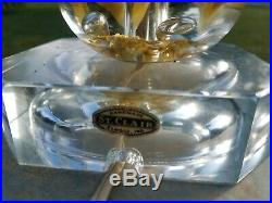 Vtg St. Clair Yellow Flower Paperweight Art Glass Table Lamp withFinial MCM Lamp 3